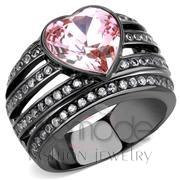 Wholesale Top Grade Crystal, Light Rose, IP Black(Ion Plating), Women, Stainless Steel, Ring