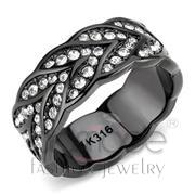 Wholesale Top Grade Crystal, Clear, IP Black(Ion Plating), Women, Stainless Steel, Ring