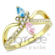 Wholesale AAA Grade CZ, Multi Color, IP Gold(Ion Plating), Women, Stainless Steel, Ring