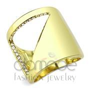 Wholesale Top Grade Crystal, Clear, IP Gold(Ion Plating), Women, Stainless Steel, Ring