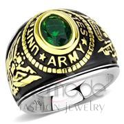 Wholesale Synthetic, Emerald, Two-Tone IP Gold (Ion Plating), Unisex, Stainless Steel, Ring