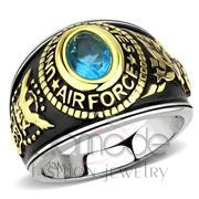 Wholesale Synthetic, Sea Blue, Two-Tone IP Gold (Ion Plating), Unisex, Stainless Steel, Ring