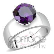 Wholesale AAA Grade CZ, Amethyst, High polished (no plating), Women, Stainless Steel, Ring
