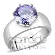 Wholesale AAA Grade CZ, Light Amethyst, High polished (no plating), Women, Stainless Steel, Ring
