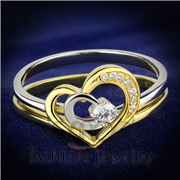 Wholesale AAA Grade CZ, Clear, Gold+Rhodium, Women, 925 Sterling Silver, Ring
