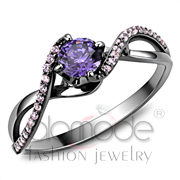 Wholesale AAA Grade CZ, Amethyst, Ruthenium, Women, 925 Sterling Silver, Ring