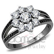Wholesale AAA Grade CZ, Clear, Ruthenium, Women, 925 Sterling Silver, Ring