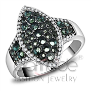 Wholesale Synthetic, Blue Zircon, Rhodium + Ruthenium, Women, 925 Sterling Silver, Ring