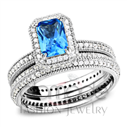 Wholesale Synthetic, Sea Blue, Rhodium, Women, 925 Sterling Silver, Ring