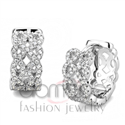 Wholesale AAA Grade CZ, Clear, Rhodium, Women, 925 Sterling Silver, Earrings