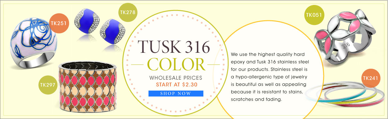 Collection;Tusk Color;Stainless steel tusk 316 Collection;We use the highest quality hard epoxy and Tusk 316 stainless steel for our products. Stainless steel is a hypo-allergenic type of jewelry is beautiful as well as appealing because it is resistant to stains, scratches and fading.