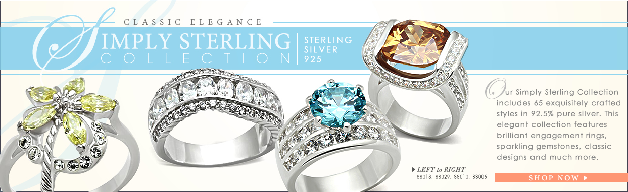 Collection;Simply Sterling Collection;classic elegance;sterling silver 925;Our Simply Sterling Collection includes 65 exquisitely crafted styles in 92.5% pure silver. This elegant collection features brilliant engagement rings, sparkling gemstones, classic designs and much more.